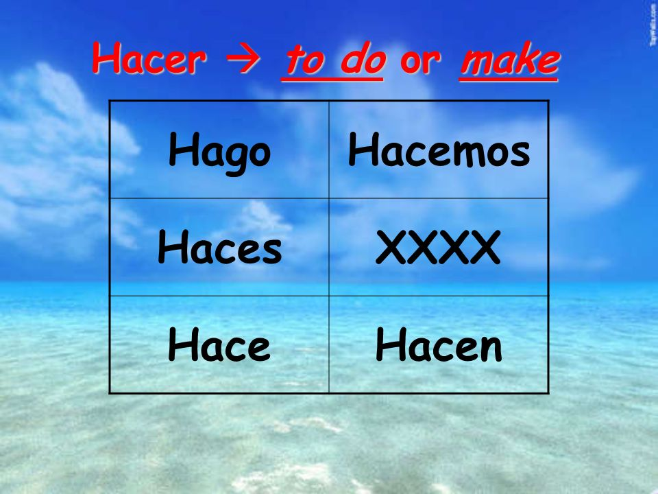 Hacer to do or make HagoHacemos HacesXXXX HaceHacen