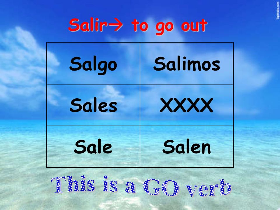 Salir to go out SalgoSalimos SalesXXXX SaleSalen