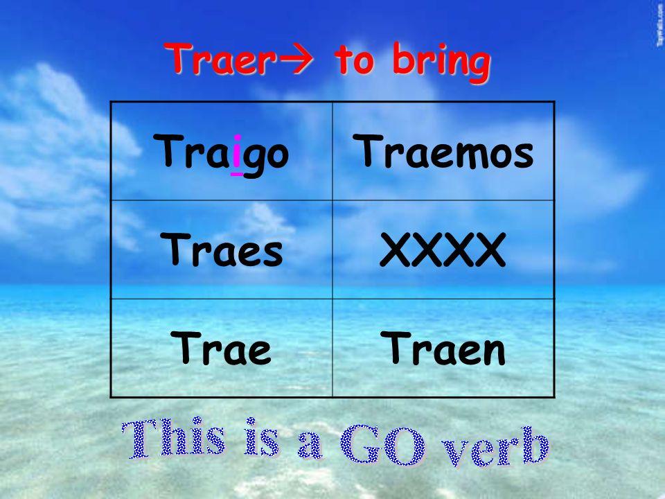 Traer to bring TraigoTraemos TraesXXXX TraeTraen
