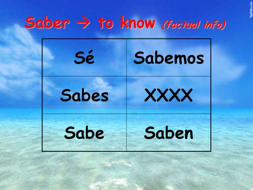 Saber to know (factual info) SéSabemos SabesXXXX SabeSaben