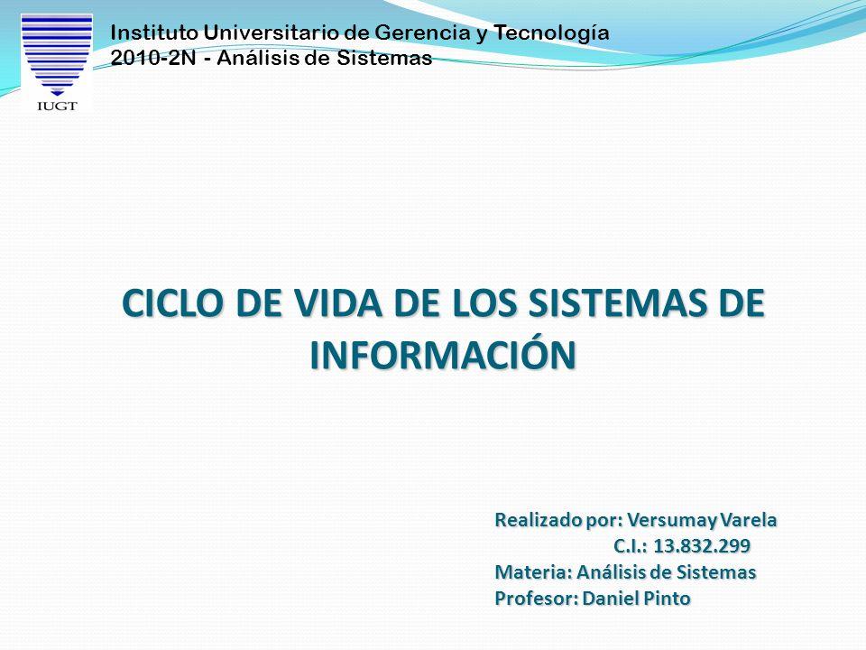 Instituto Universitario de Gerencia y Tecnología 2010-2N - Análisis de Sistemas Realizado por: Versumay Varela C.I.: 13.832.299 Materia: Análisis de S