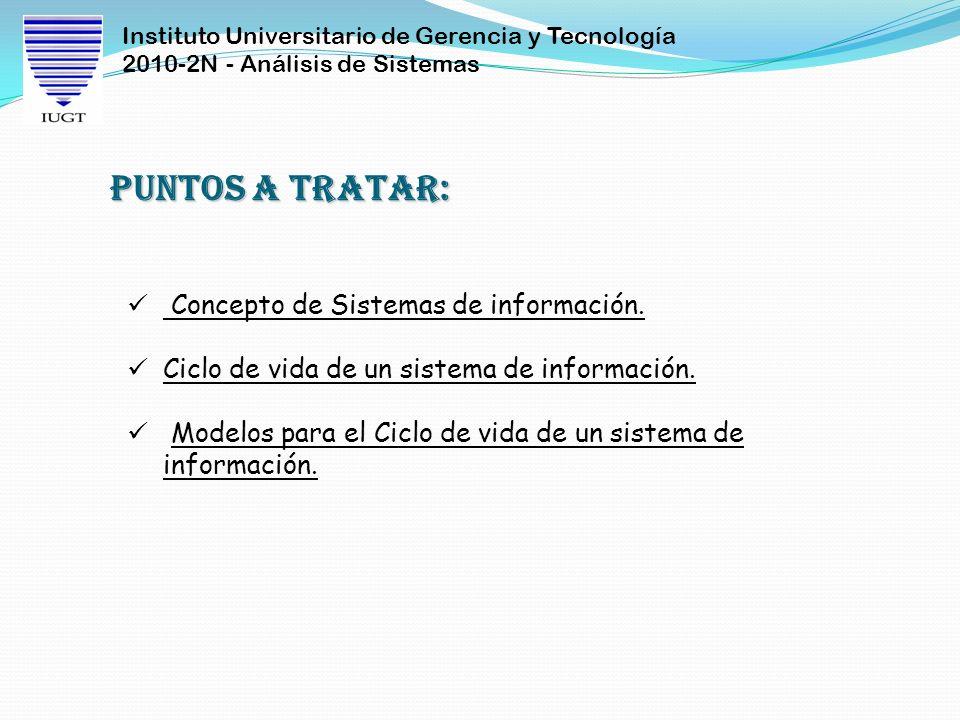 Instituto Universitario de Gerencia y Tecnología 2010-2N - Análisis de Sistemas Puntos a tratar: Concepto de Sistemas de información. Ciclo de vida de