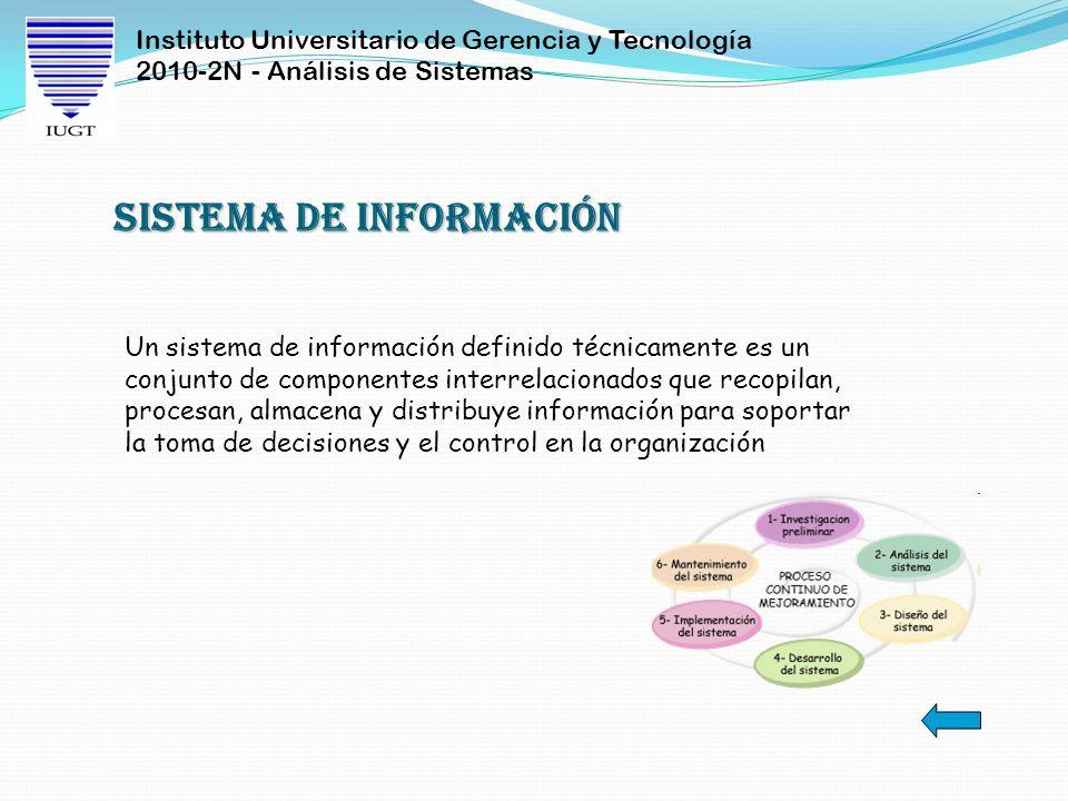 Instituto Universitario de Gerencia y Tecnología 2010-2N - Análisis de Sistemas Un sistema de información definido técnicamente es un conjunto de comp