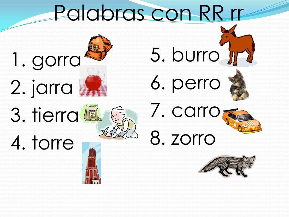 Palabras con RR rr 1. gorra 2. jarra 3. tierra 4. torre 5. burro 6. perro 7. carro 8. zorro