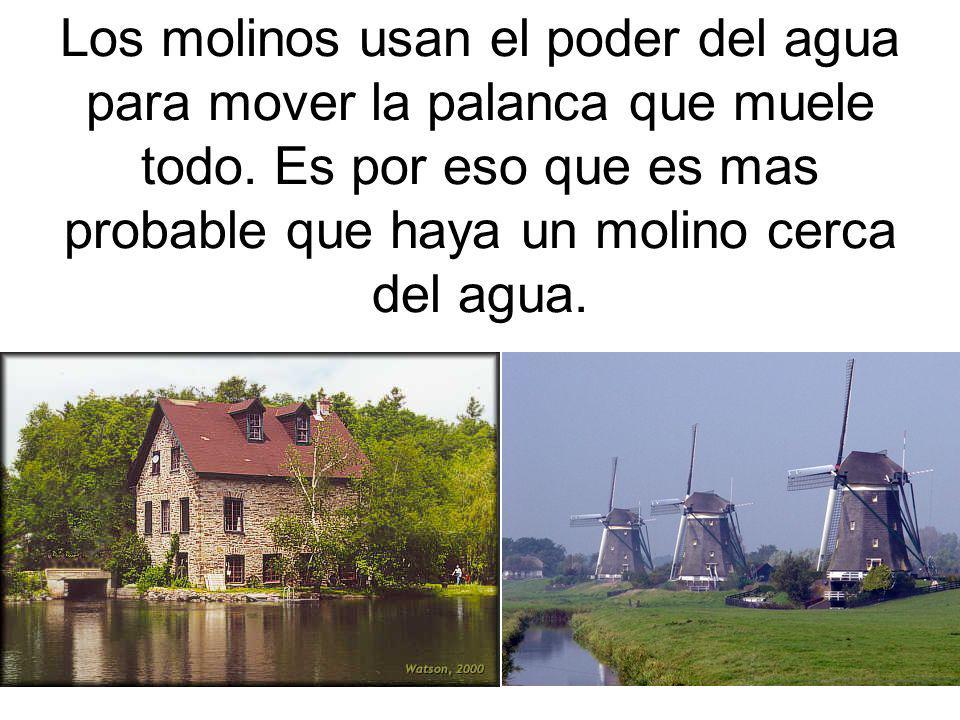 Los molinos usan el poder del agua para mover la palanca que muele todo. Es por eso que es mas probable que haya un molino cerca del agua.