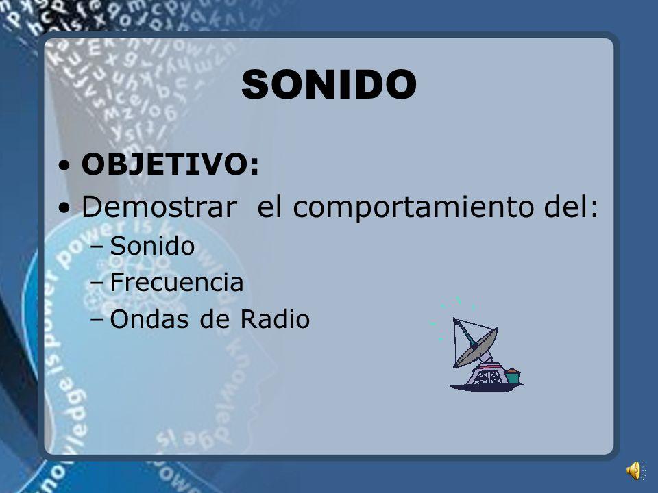 SONIDO OBJETIVO: Demostrar el comportamiento del: –Sonido –Frecuencia –Ondas de Radio