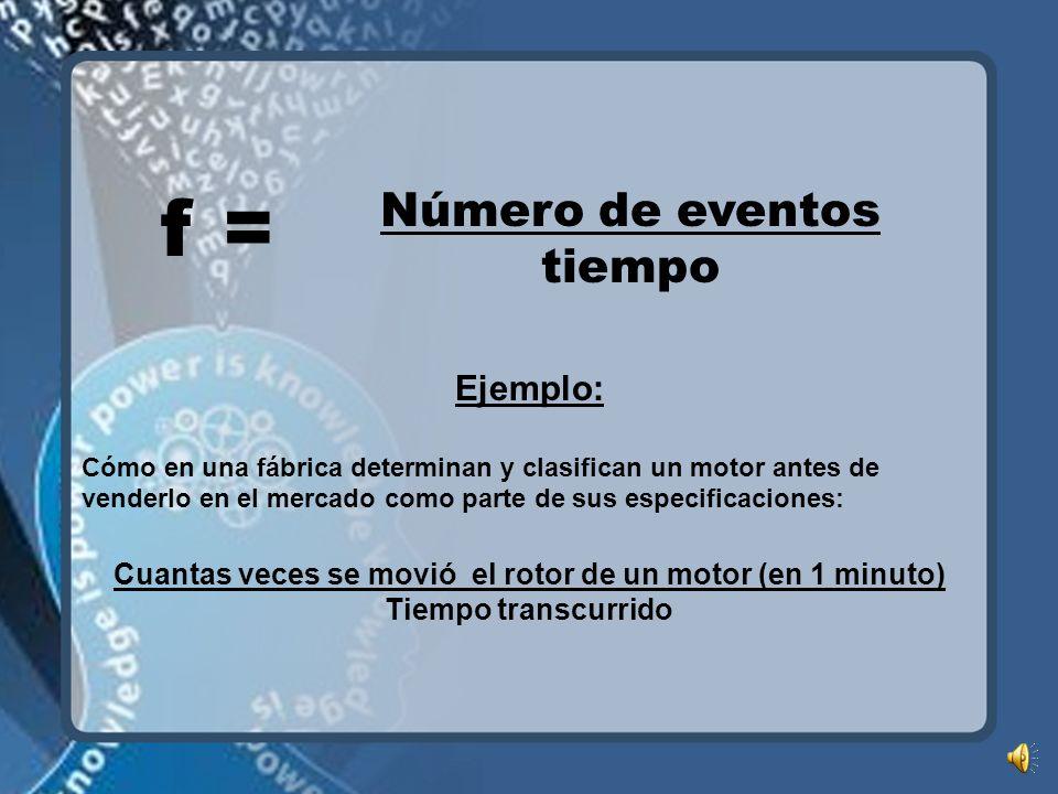 f = Número de eventos tiempo Ejemplo: Cómo en una fábrica determinan y clasifican un motor antes de venderlo en el mercado como parte de sus especificaciones: Cuantas veces se movió el rotor de un motor (en 1 minuto) Tiempo transcurrido