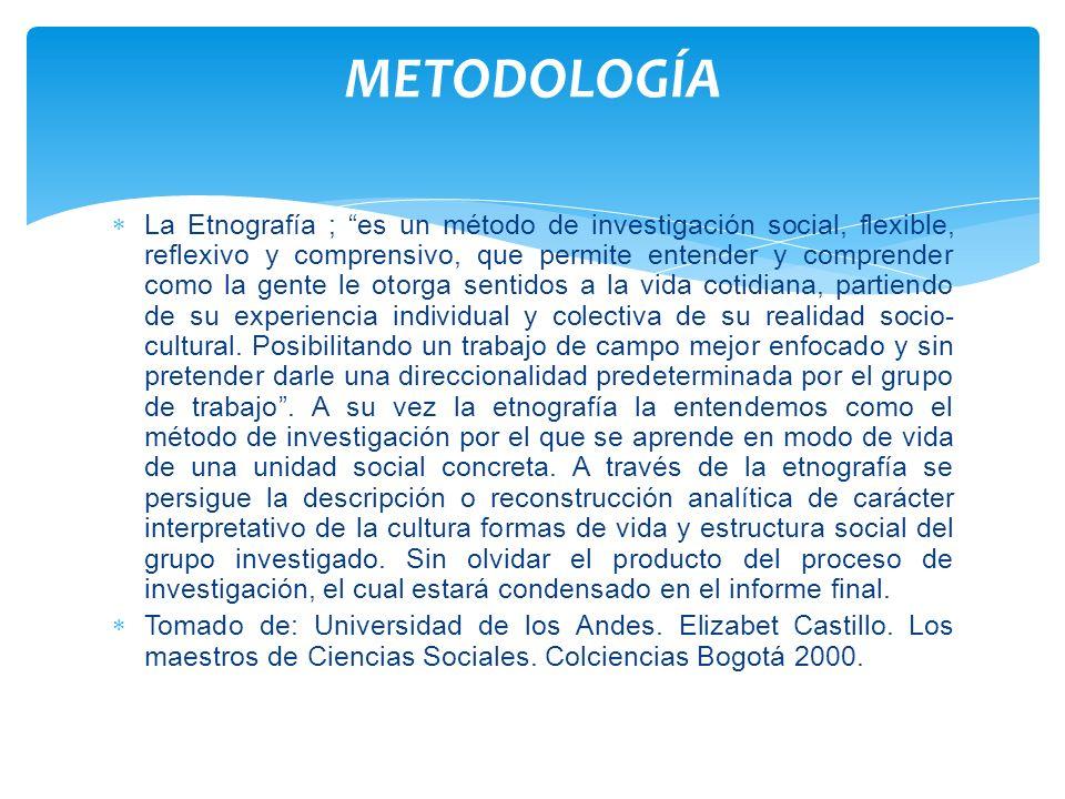 La Etnografía ; es un método de investigación social, flexible, reflexivo y comprensivo, que permite entender y comprender como la gente le otorga sen