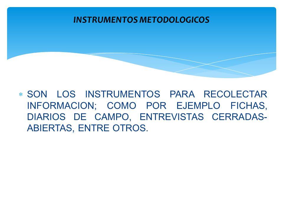 SON LOS INSTRUMENTOS PARA RECOLECTAR INFORMACION; COMO POR EJEMPLO FICHAS, DIARIOS DE CAMPO, ENTREVISTAS CERRADAS- ABIERTAS, ENTRE OTROS. INSTRUMENTOS