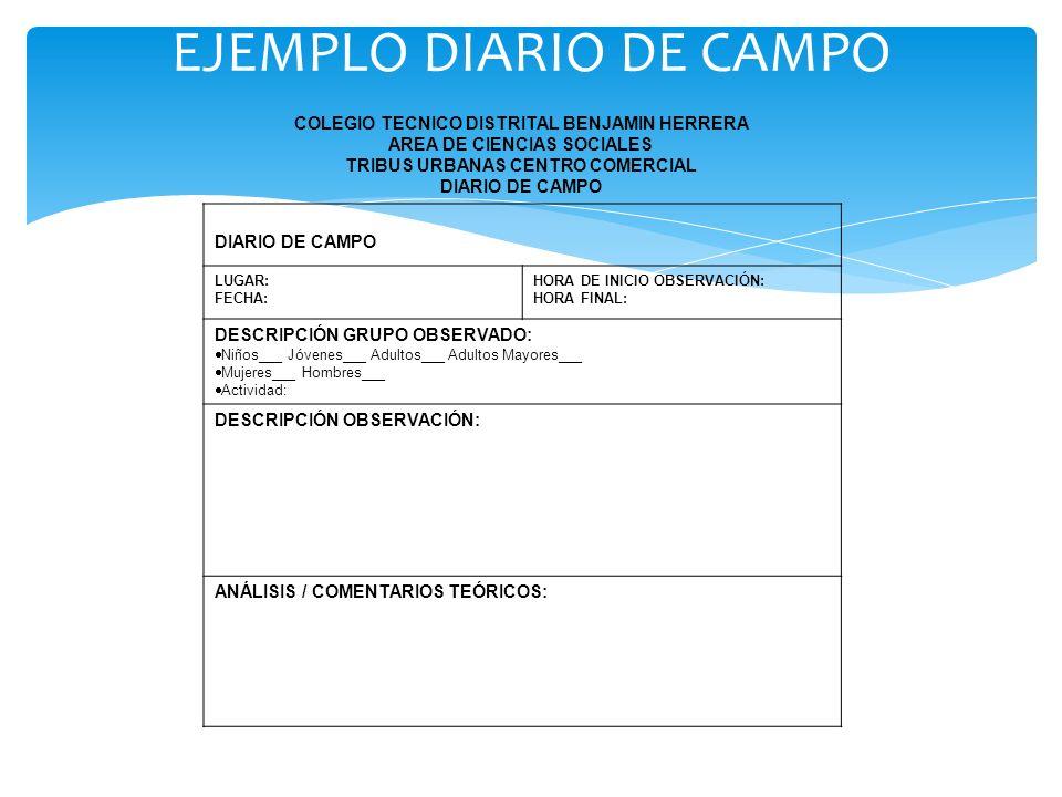 EJEMPLO DIARIO DE CAMPO COLEGIO TECNICO DISTRITAL BENJAMIN HERRERA AREA DE CIENCIAS SOCIALES TRIBUS URBANAS CENTRO COMERCIAL DIARIO DE CAMPO LUGAR: FE