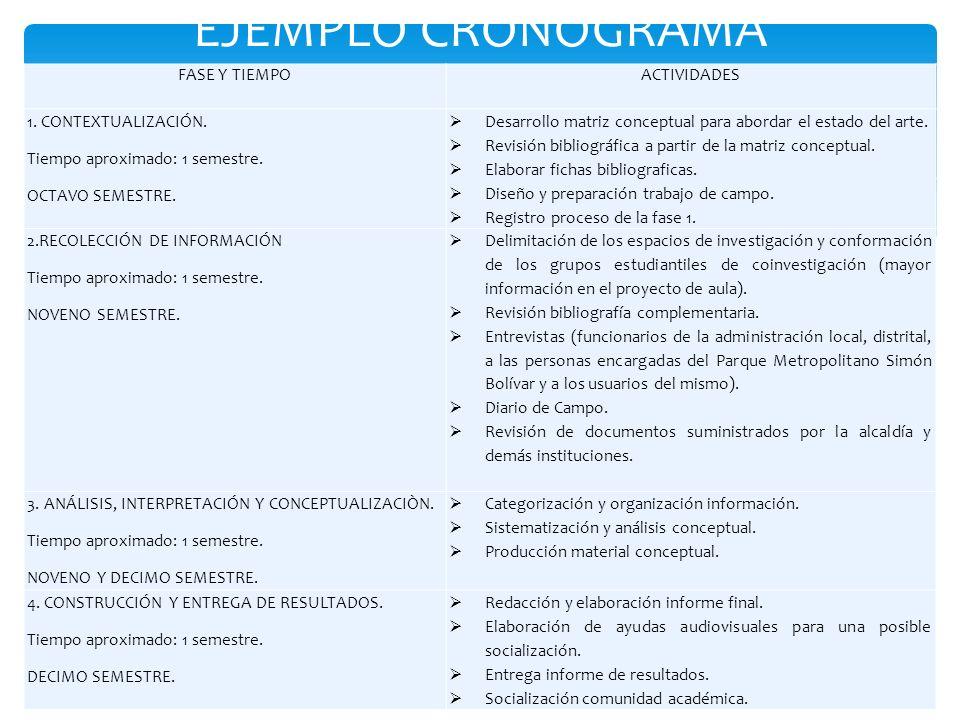 EJEMPLO CRONOGRAMA FASE Y TIEMPOACTIVIDADES 1. CONTEXTUALIZACIÓN. Tiempo aproximado: 1 semestre. OCTAVO SEMESTRE. Desarrollo matriz conceptual para ab