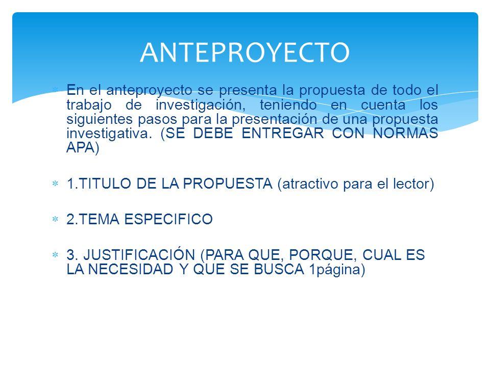 En el anteproyecto se presenta la propuesta de todo el trabajo de investigación, teniendo en cuenta los siguientes pasos para la presentación de una p