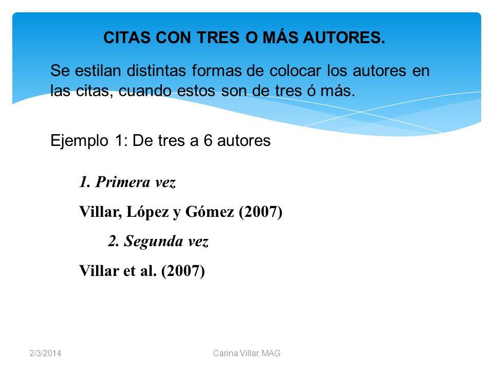 2/3/2014Carina Villar, MAG Se estilan distintas formas de colocar los autores en las citas, cuando estos son de tres ó más. CITAS CON TRES O MÁS AUTOR