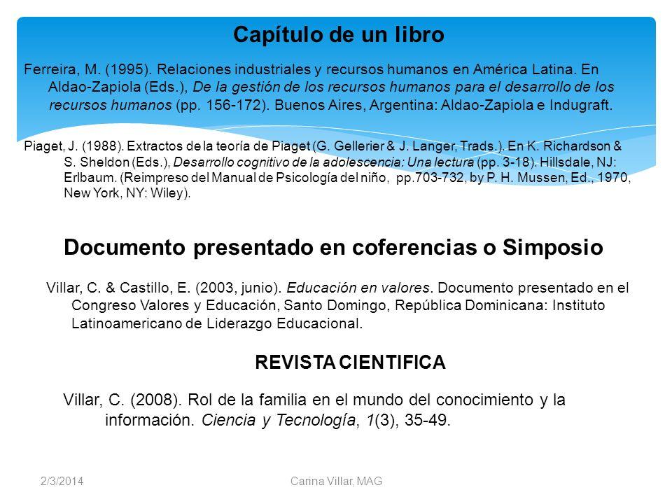 2/3/2014Carina Villar, MAG Capítulo de un libro Ferreira, M. (1995). Relaciones industriales y recursos humanos en América Latina. En Aldao-Zapiola (E
