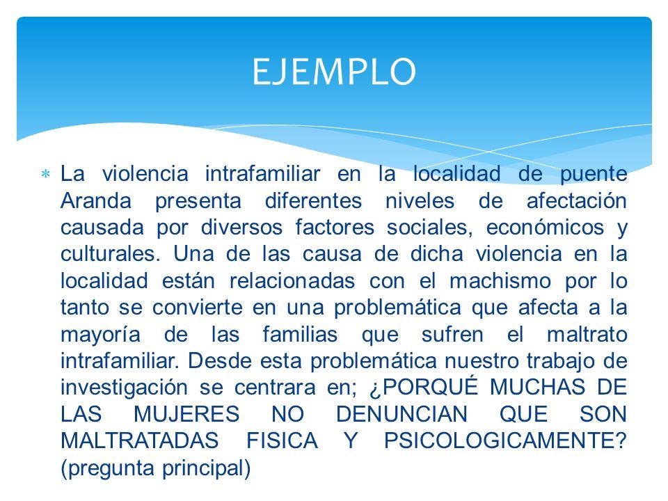 La violencia intrafamiliar en la localidad de puente Aranda presenta diferentes niveles de afectación causada por diversos factores sociales, económic
