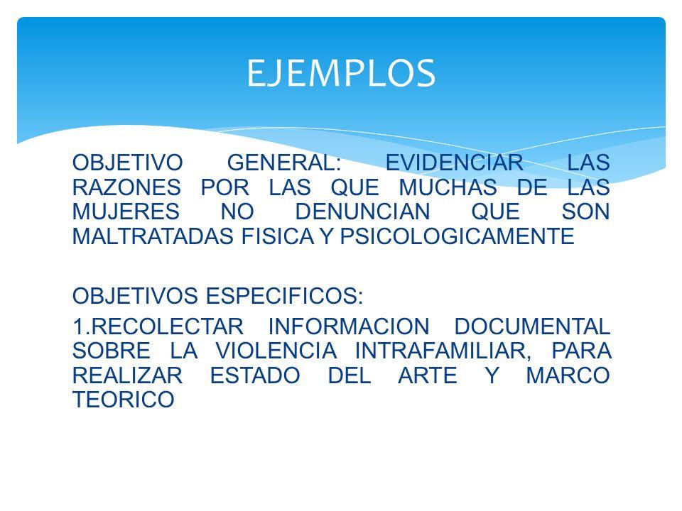 OBJETIVO GENERAL: EVIDENCIAR LAS RAZONES POR LAS QUE MUCHAS DE LAS MUJERES NO DENUNCIAN QUE SON MALTRATADAS FISICA Y PSICOLOGICAMENTE OBJETIVOS ESPECI