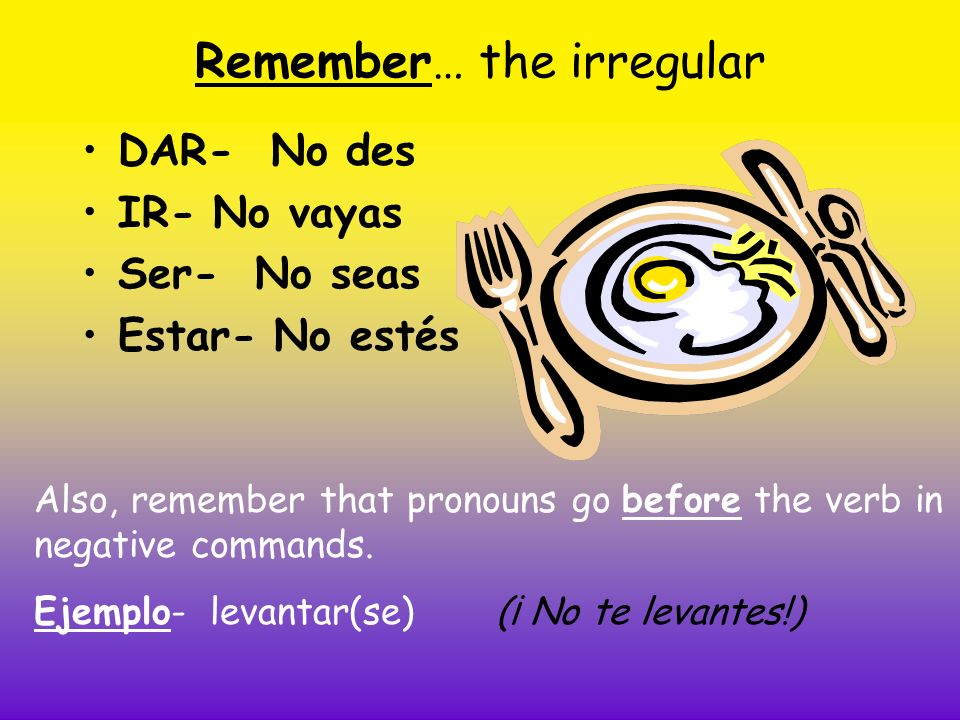 Remember… the irregular DAR- No des IR- No vayas Ser- No seas Estar- No estés Also, remember that pronouns go before the verb in negative commands.