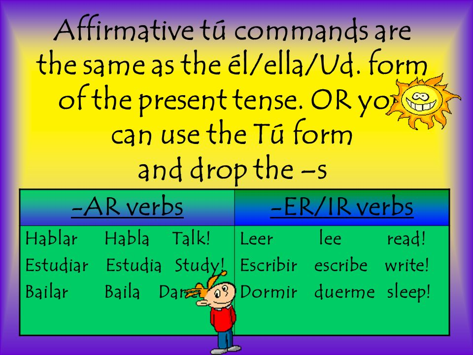 Affirmative tú commands are the same as the él/ella/Ud.