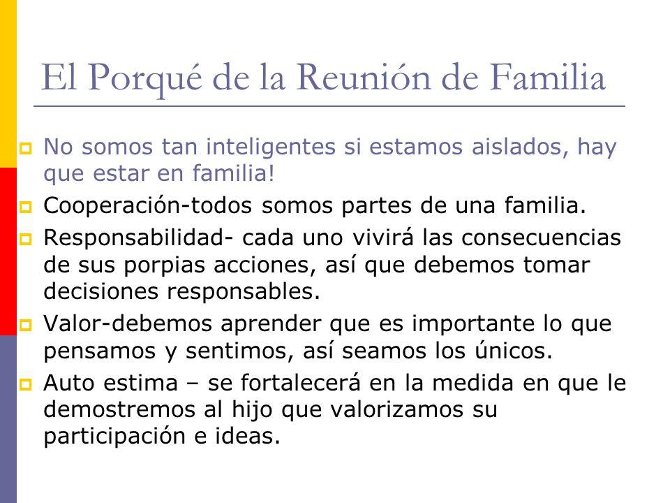 El Porqué de la Reunión de Familia No somos tan inteligentes si estamos aislados, hay que estar en familia! Cooperación-todos somos partes de una fami