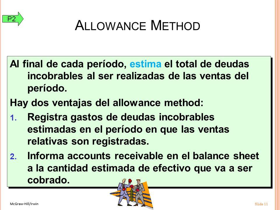 McGraw-Hill/Irwin Slide 11 McGraw-Hill/Irwin Slide 11 Al final de cada período, estima el total de deudas incobrables al ser realizadas de las ventas del período.