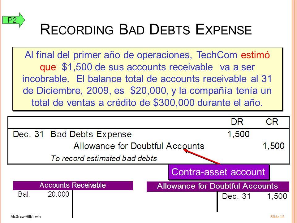 McGraw-Hill/Irwin Slide 12 McGraw-Hill/Irwin Slide 12 R ECORDING B AD D EBTS E XPENSE Al final del primer año de operaciones, TechCom estimó que $1,500 de sus accounts receivable va a ser incobrable.