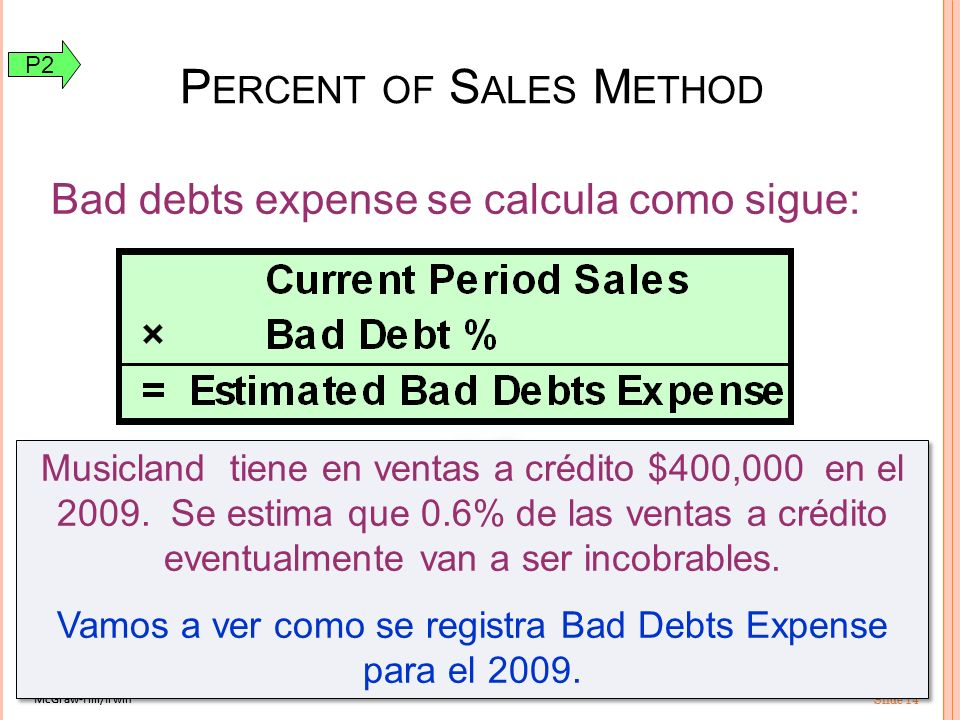 McGraw-Hill/Irwin Slide 14 McGraw-Hill/Irwin Slide 14 Bad debts expense se calcula como sigue: P ERCENT OF S ALES M ETHOD Musicland tiene en ventas a