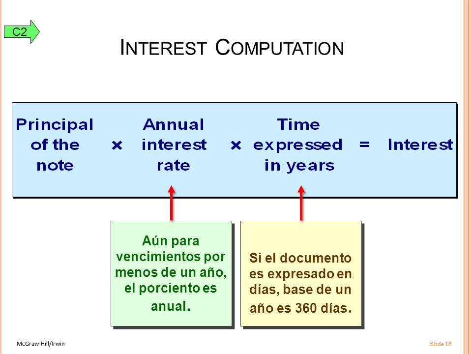 McGraw-Hill/Irwin Slide 16 McGraw-Hill/Irwin Slide 16 Si el documento es expresado en días, base de un año es 360 días.