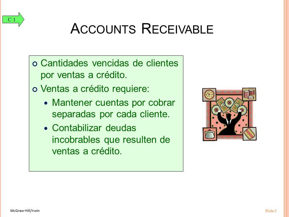 McGraw-Hill/Irwin Slide 2 McGraw-Hill/Irwin Slide 2 A CCOUNTS R ECEIVABLE Cantidades vencidas de clientes por ventas a crédito.