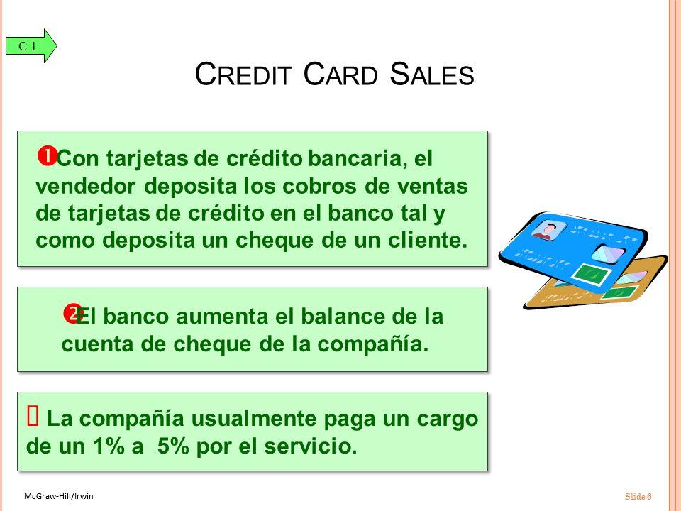 McGraw-Hill/Irwin Slide 6 McGraw-Hill/Irwin Slide 6 Con tarjetas de crédito bancaria, el vendedor deposita los cobros de ventas de tarjetas de crédito en el banco tal y como deposita un cheque de un cliente.