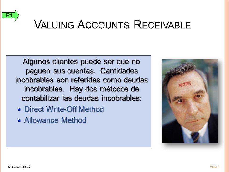 McGraw-Hill/Irwin Slide 9 McGraw-Hill/Irwin Slide 9 Algunos clientes puede ser que no paguen sus cuentas.