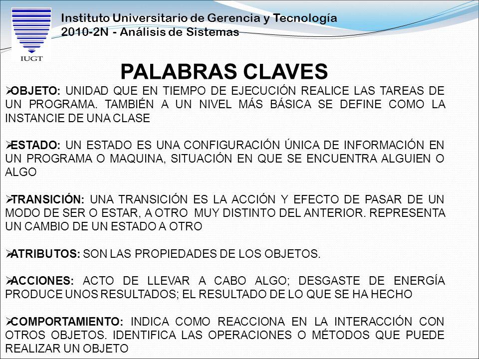 Instituto Universitario de Gerencia y Tecnología 2010-2N - Análisis de Sistemas PALABRAS CLAVES OBJETO: UNIDAD QUE EN TIEMPO DE EJECUCIÓN REALICE LAS