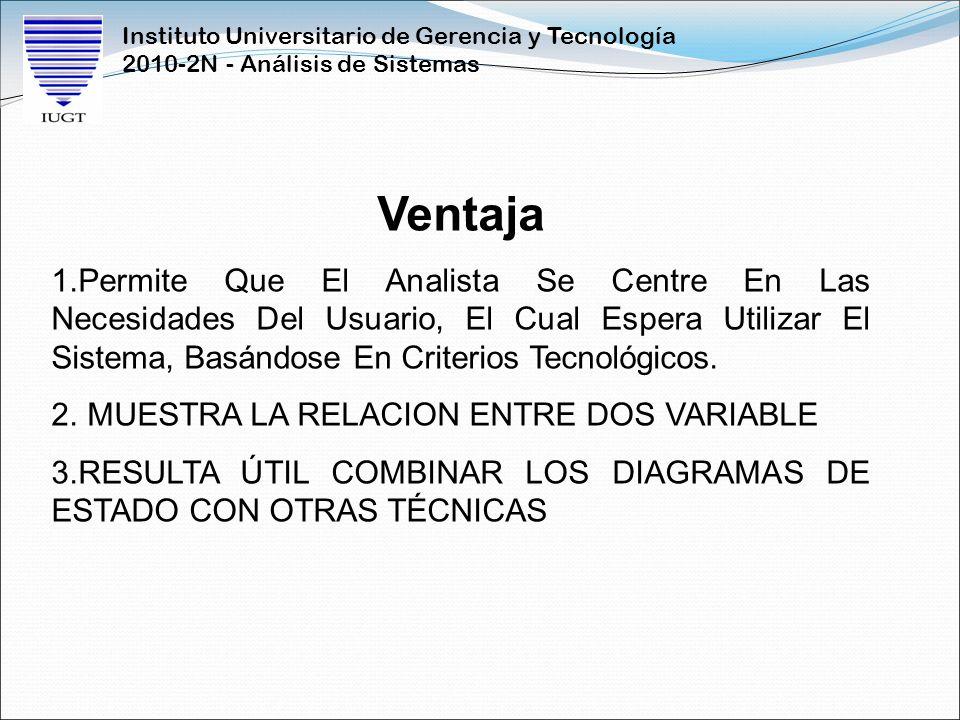Instituto Universitario de Gerencia y Tecnología 2010-2N - Análisis de Sistemas Ventaja 1.Permite Que El Analista Se Centre En Las Necesidades Del Usu