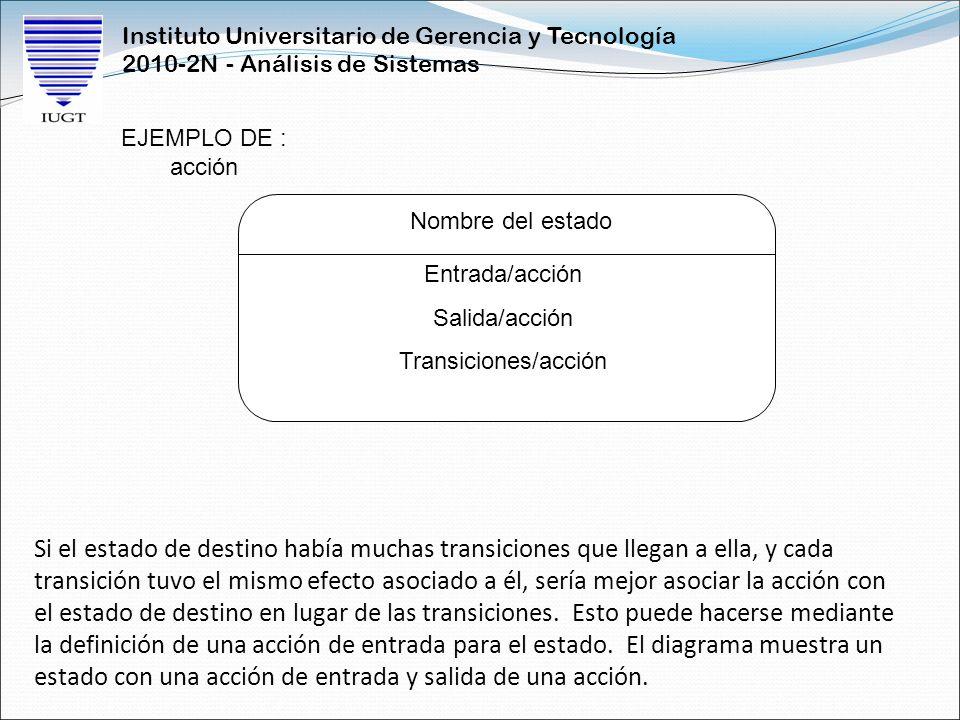 Instituto Universitario de Gerencia y Tecnología 2010-2N - Análisis de Sistemas Si el estado de destino había muchas transiciones que llegan a ella, y