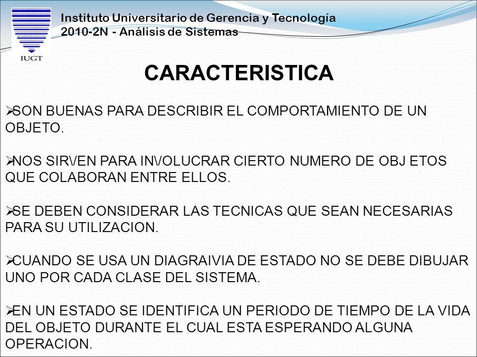 Instituto Universitario de Gerencia y Tecnología 2010-2N - Análisis de Sistemas CARACTERISTICA SON BUENAS PARA DESCRIBIR EL COMPORTAMIENTO DE UN OBJET