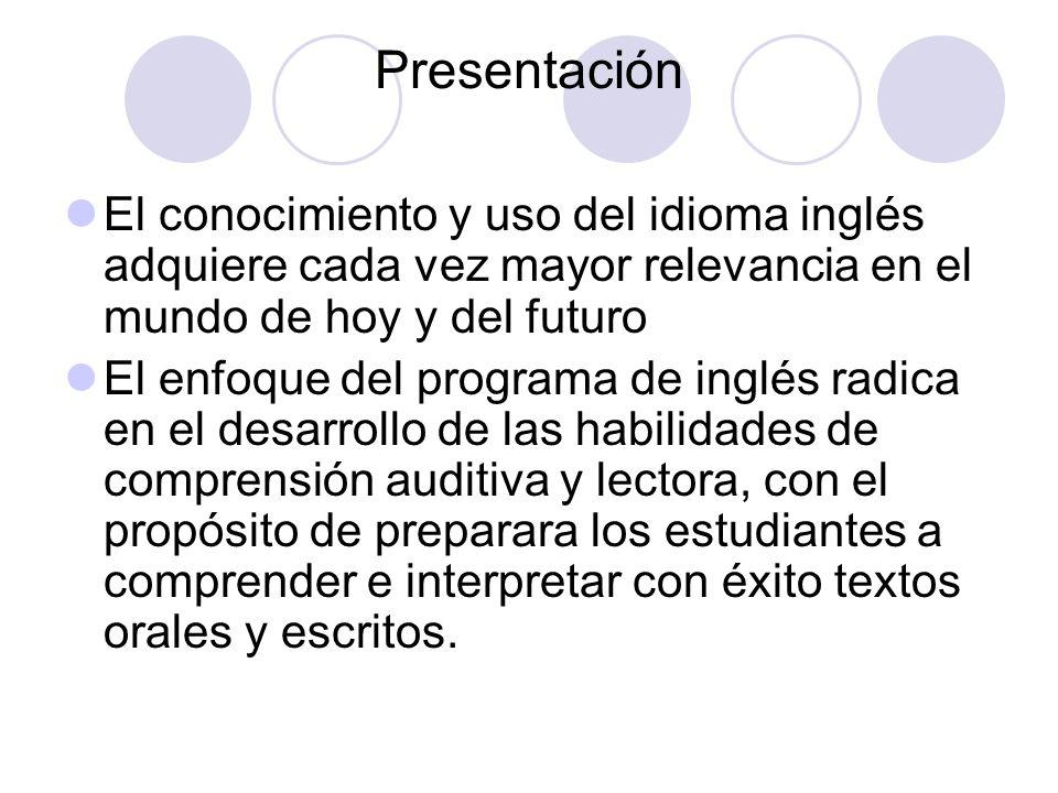 Presentación El conocimiento y uso del idioma inglés adquiere cada vez mayor relevancia en el mundo de hoy y del futuro El enfoque del programa de ing