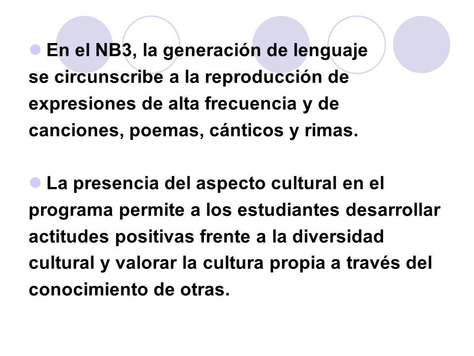 En el NB3, la generación de lenguaje se circunscribe a la reproducción de expresiones de alta frecuencia y de canciones, poemas, cánticos y rimas. La