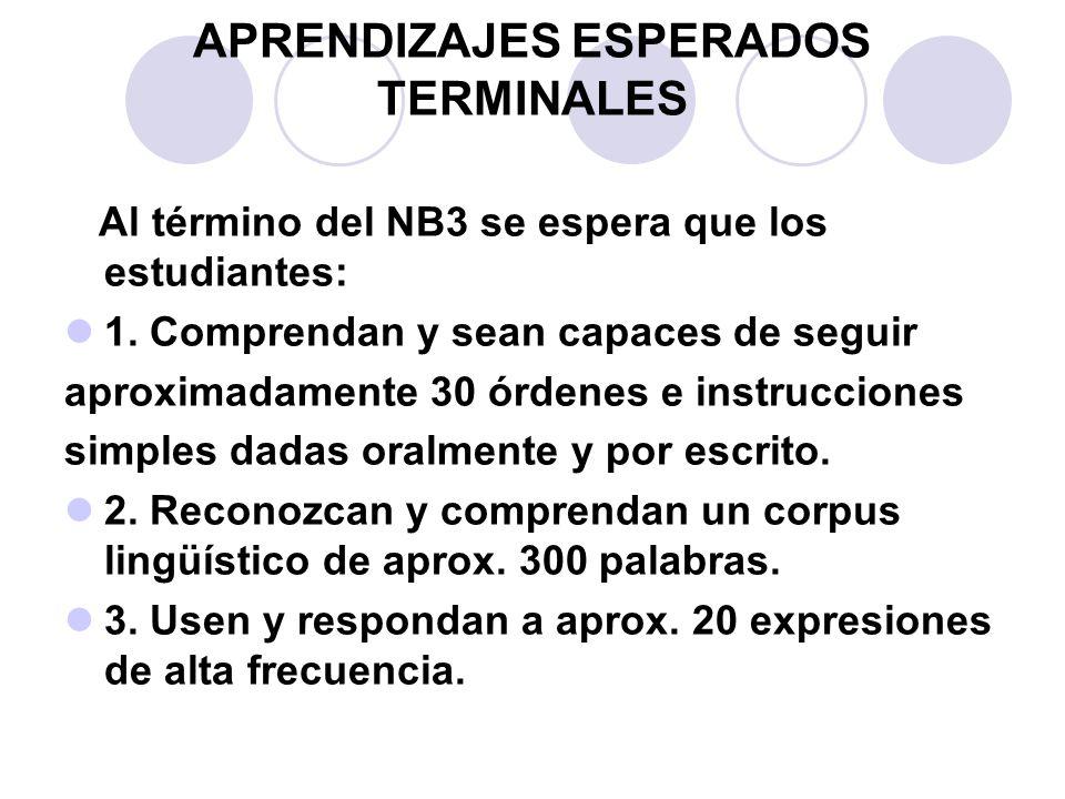 APRENDIZAJES ESPERADOS TERMINALES Al término del NB3 se espera que los estudiantes: 1. Comprendan y sean capaces de seguir aproximadamente 30 órdenes
