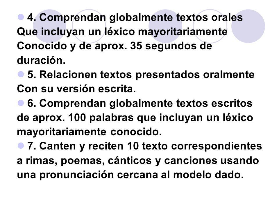 4. Comprendan globalmente textos orales Que incluyan un léxico mayoritariamente Conocido y de aprox. 35 segundos de duración. 5. Relacionen textos pre