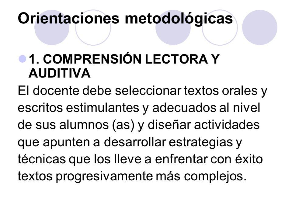 Orientaciones metodológicas 1. COMPRENSIÓN LECTORA Y AUDITIVA El docente debe seleccionar textos orales y escritos estimulantes y adecuados al nivel d