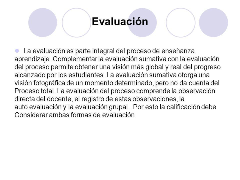 Evaluación La evaluación es parte integral del proceso de enseñanza aprendizaje. Complementar la evaluación sumativa con la evaluación del proceso per