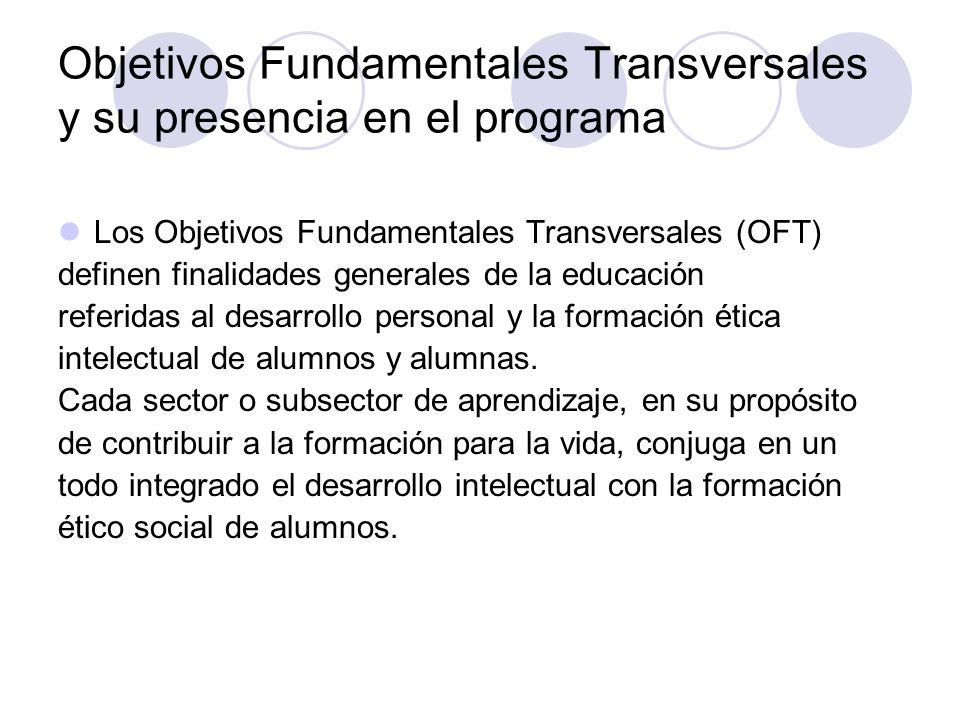 Objetivos Fundamentales Transversales y su presencia en el programa Los Objetivos Fundamentales Transversales (OFT) definen finalidades generales de l