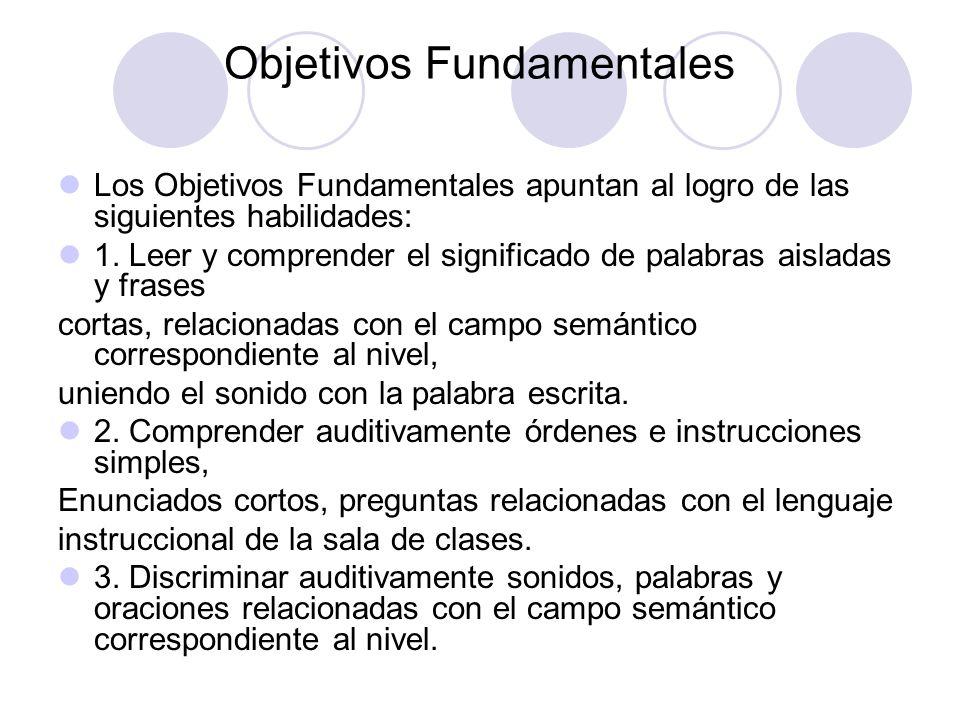 Objetivos Fundamentales Los Objetivos Fundamentales apuntan al logro de las siguientes habilidades: 1. Leer y comprender el significado de palabras ai