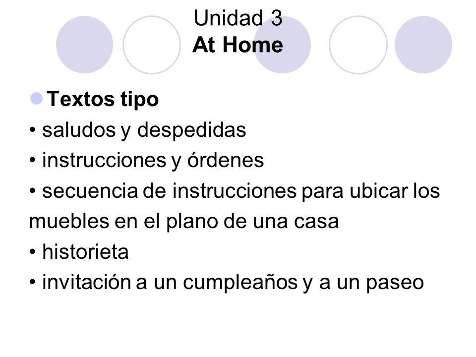 Unidad 3 At Home Textos tipo saludos y despedidas instrucciones y órdenes secuencia de instrucciones para ubicar los muebles en el plano de una casa h