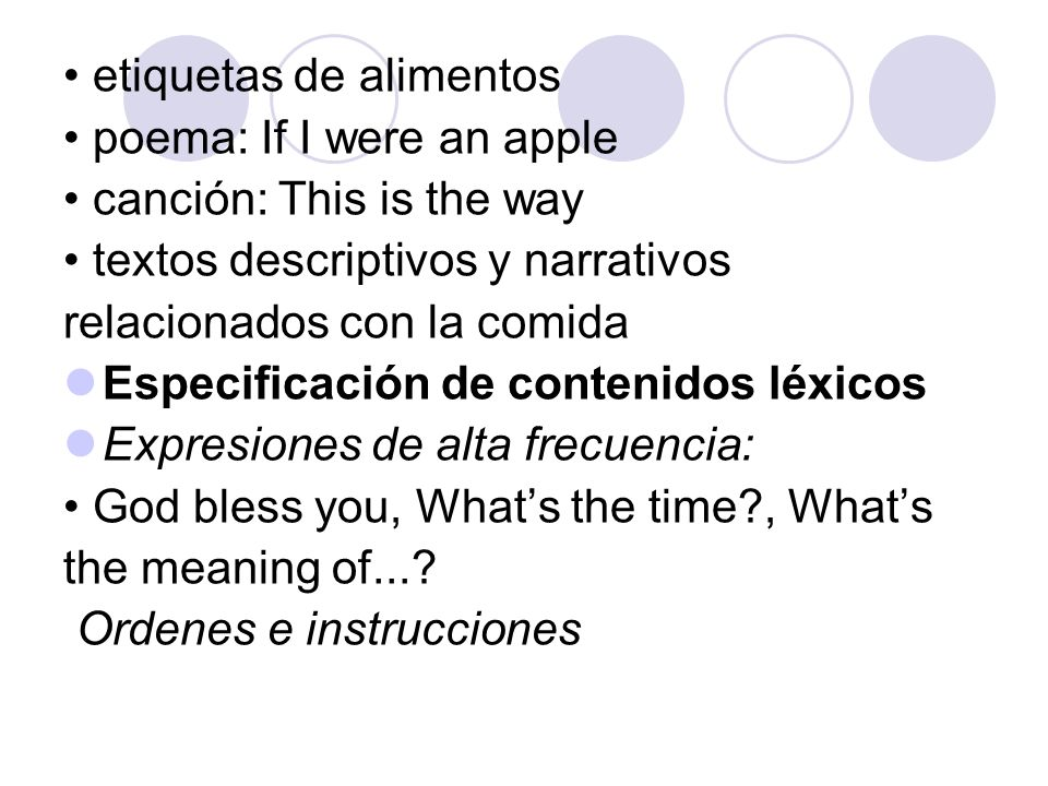 etiquetas de alimentos poema: If I were an apple canción: This is the way textos descriptivos y narrativos relacionados con la comida Especificación d
