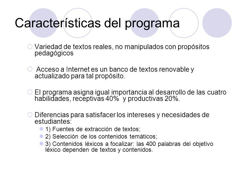 Características del programa Variedad de textos reales, no manipulados con propósitos pedagógicos Acceso a Internet es un banco de textos renovable y