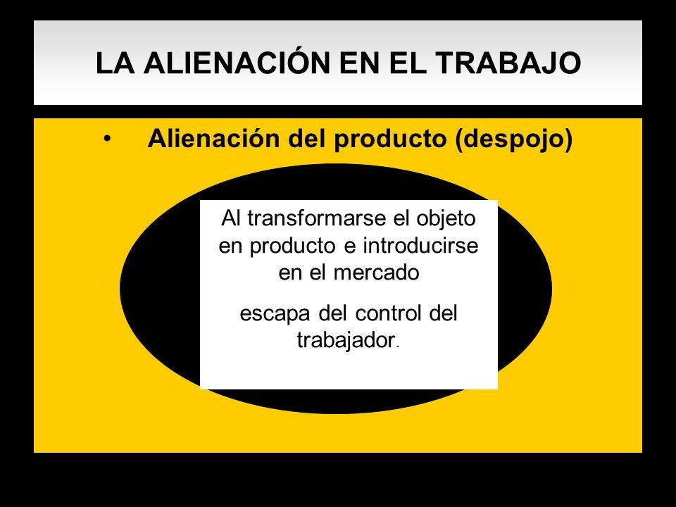 LA ALIENACIÓN EN EL TRABAJO Alienación del producto (despojo) Al transformarse el objeto en producto e introducirse en el mercado escapa del control d