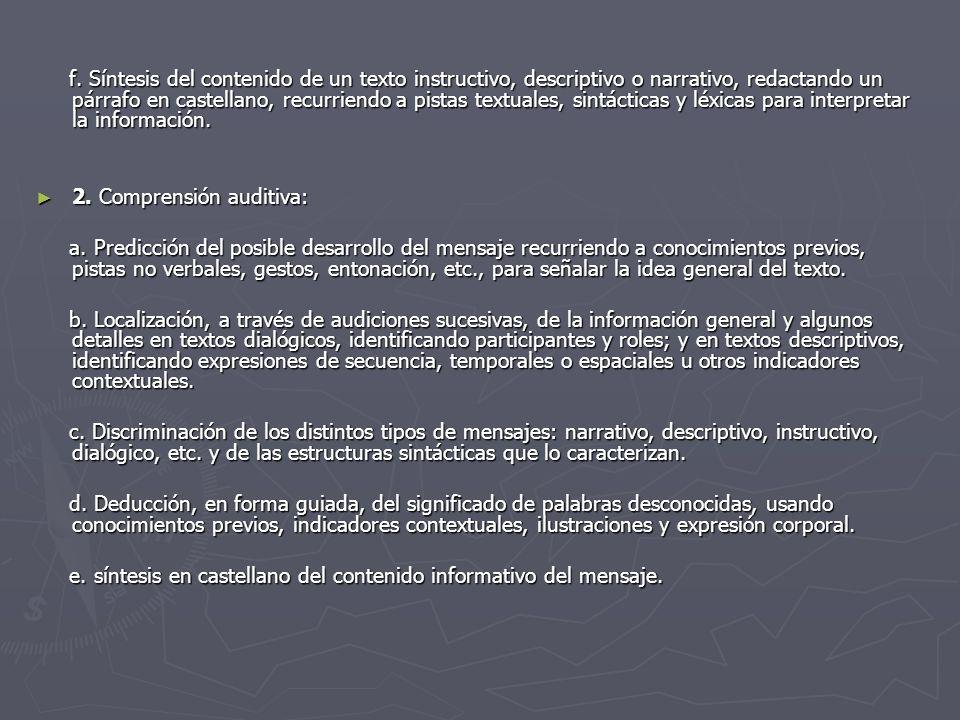 f. Síntesis del contenido de un texto instructivo, descriptivo o narrativo, redactando un párrafo en castellano, recurriendo a pistas textuales, sintá