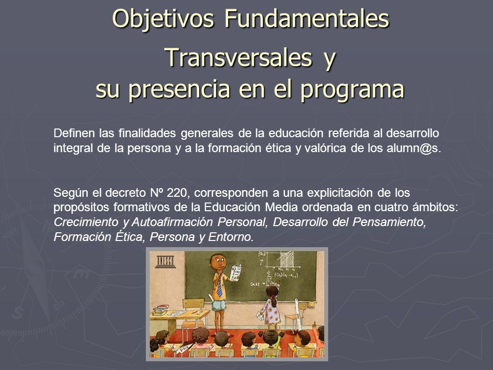 Objetivos Fundamentales Transversales y su presencia en el programa Definen las finalidades generales de la educación referida al desarrollo integral
