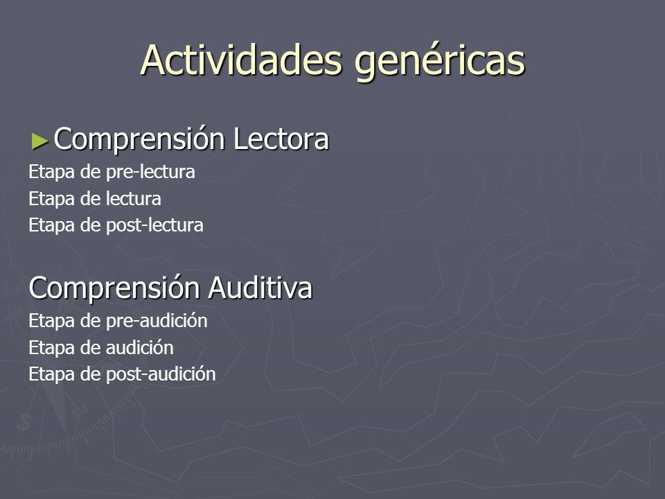 Actividades genéricas Comprensión Lectora Comprensión Lectora Etapa de pre-lectura Etapa de lectura Etapa de post-lectura Comprensión Auditiva Etapa d