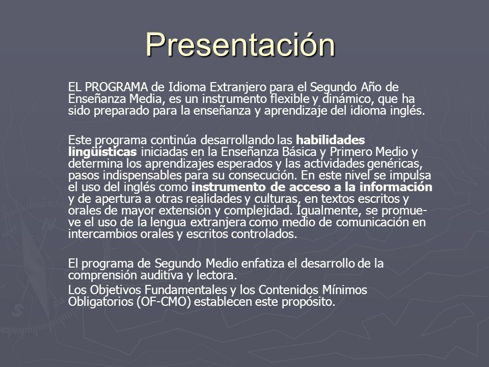 Presentación EL PROGRAMA de Idioma Extranjero para el Segundo Año de Enseñanza Media, es un instrumento flexible y dinámico, que ha sido preparado par